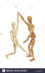wooden manikins two wooden artist s manikins isolated against white stock