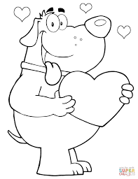 penguin cartoon character holding a valentine heart coloring page