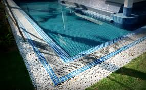 Decorative Swimming Pool Ideas With Fascinating Pebble Tile Design
