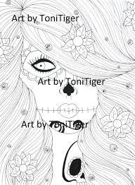 instant digital download coloring page flower sugar skull