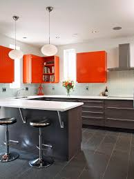 orange kitchen ideas modern ceiling light above marble bar ideas for extraordinary