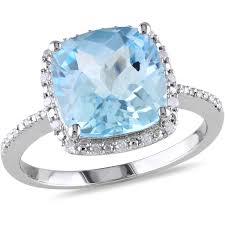 2 5 Cushion Cut Diamond Engagement Ring 5 1 4 Carat T G W Cushion Cut Blue Topaz And 1 10 Carat T W