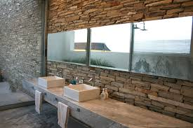 bathroom dazzling exposed stone bathroom wall with long wall