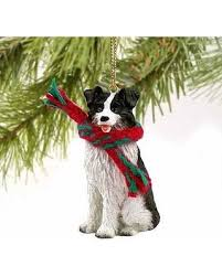 bargains on border collie miniature ornament gold