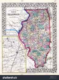 Maps Of Illinois by Antique Map Illinois Springfield 1870 Stock Illustration 631285