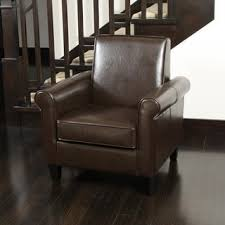 freemont brown bonded leather club chair by christopher knight