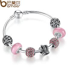murano glass beads bracelet images Bamoer silver charm bracelet bangle with open your heart crown jpg