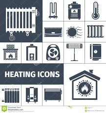 heating flat icon set stock vector image 56123771