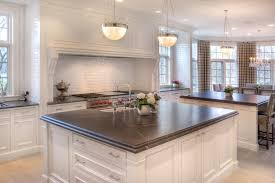 grey granite countertop kitchen traditional with double island
