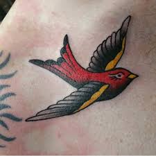 sparrow tattoo on shoulder meaning flying blue sparrow tattoo on left back shoulder