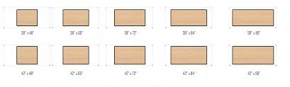RECEPTIVE Shop  Table Sizing Information - Kitchen table sizes