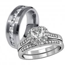 wedding ring set his and hers his hers 3 pcs stainless steel cz matching band women heart cut