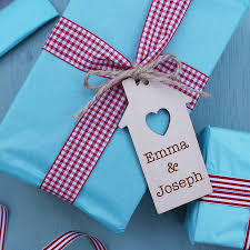 personalised wooden house gift tag by sparks living
