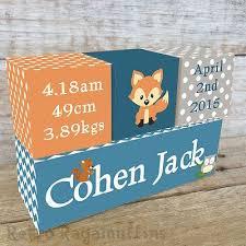 Personalised Baby Nursery Decor Nursery Decor Personalised Wooden Name Birth Blocks Woodland Fox
