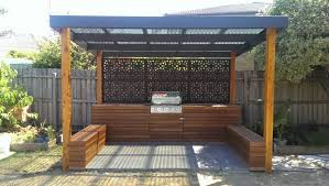 outdoor entertainment timber with steel screen this would look good with a blue stone