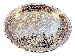 engraved serving trays moroccan tea silver tray engraved arabic pattern design 14 5 dia