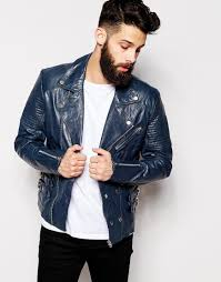 mens leather biker jacket asos leather biker jacket in blue for men lyst
