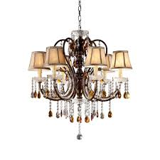 Crystal And Bronze Chandelier Homesullivan 6 Light Bronze Tea Shade Crystal Chandelier 40ok