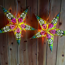paper star lights green and pink modern day hippie