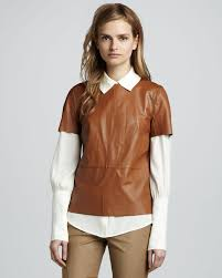 leather blouse lyst zoe janette sleeve leather blouse in brown