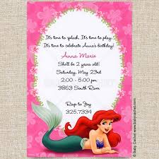 ariel little mermaid birthday invitations baby cachet