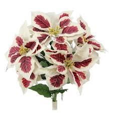 5 stems artificial poinsettia flower bush free shipping