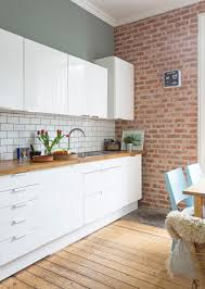 Ikea Kitchen White White Gloss Kitchen Units By Ikea Brick Slip Wall Fired Earth