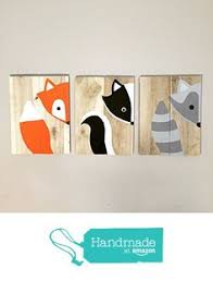 Woodland Animals Nursery Decor Baby Animal Paintings Woodland Paintings Woodland Sign Set