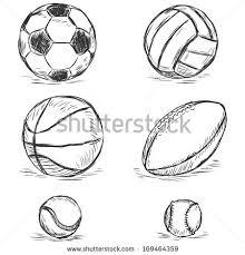 vector sketch illustration sport balls football volleyball