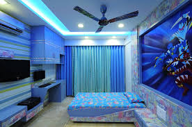 kid u0027s blue bedroom with wallpaper design by interior designer