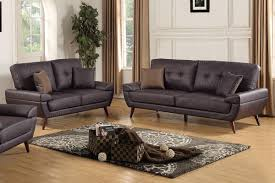 genuine leather sofa set poundex f6862 2 pcs brown genuine leather sofa set ebay