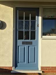 Entrance Doors by Timber Entrance Door Painted Ral 5014 Fitted With Contemporary