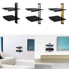 Glass Floating Shelves by Black 2 Tier Tempered Glass Floating Mount Rack Shelves Shelf For