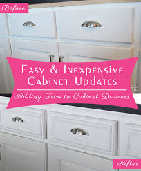 Updating Kitchen Cabinets On A Budget Easy And Inexpensive Cabinet Updates Adding Trim To Cabinets