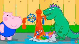 hippo peppa and dragon throw water balloons at passers funny