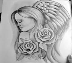 pretty grey ink angel portrait in profile with roses tattoo design