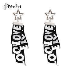 engraved ribbon jaymaxi black geometric earrings european and american style