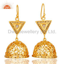 fancy jhumka earrings diamond cut fancy jhumka earrings with 18k gold plated sterling silver
