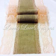 Burlap Lace Table Runner Peach Weddings Burlap Lace Table Runner With Peach Lace 3ft 10ft