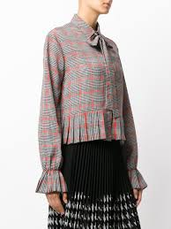 houndstooth blouse msgm houndstooth blouse grey 10 authorized site w 12235576