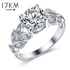 fashion wedding rings images 17km fashion silver color crystal flower wedding rings for women jpg