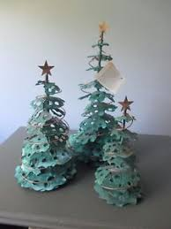 trio copper metal green copper table top trees home
