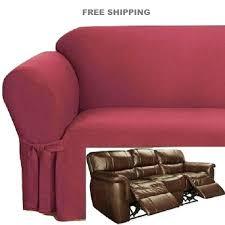 Reclining Sofa Slipcovers Dual Reclining Sofa Slipcover Ribbed Texture Spice