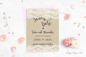 rustic save the date printable save the date card lace save