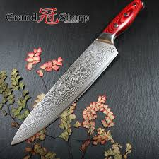 japanese damascus kitchen knives grandsharp 67 layers japanese damascus knife damascus chef knife 8