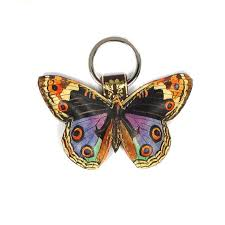 leather butterfly keychain key ring bag charm colourful