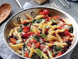 pasta recipes grape tomato olive and spinach pasta recipe myrecipes