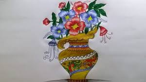Pencil Sketch Of Flower Vase How To Draw Flower Vase With Drawing Technique Step By Step Youtube