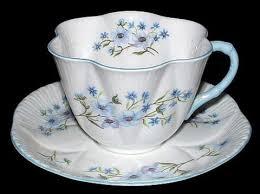 shelley china dainty shape blue rock cup and saucer england bone