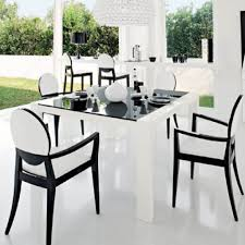black dining table with white chairs with concept gallery 10576